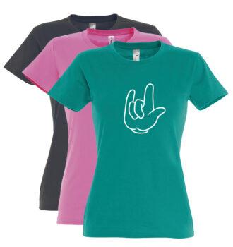 Damen Rundhals T-Shirt, Motiv ILY008